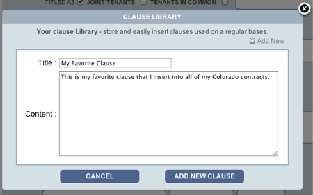 Texas TREC Forms clause library add new view