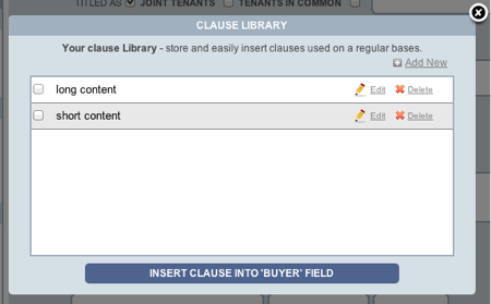 Texas TREC Forms clause library main
