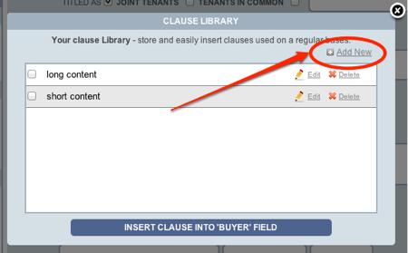 Texas TREC forms clause library main add new